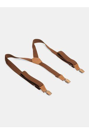 BeWooden Kožené šle Cognac Suspenders s dřevěnými detaily
