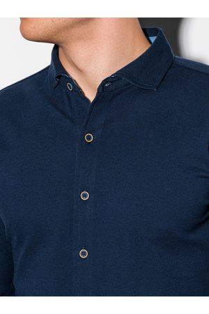 Ombre Clothing Pánská košile s dlouhým rukávem K540 - námořnická