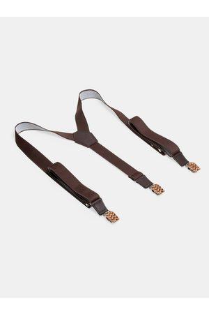 BeWooden Kožené šle Trio Suspenders s dřevěnými detaily