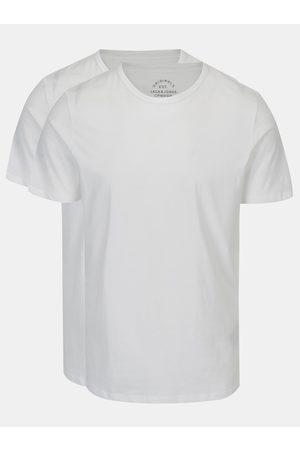 JACK & JONES Sada dvou bílých basic triček s krátkým rukávem Basic