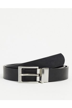ASOS DESIGN Smart slim reversible belt in black patent emboss and faux leather