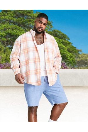 ASOS 90s oversized summer brights check shirt in white-Orange