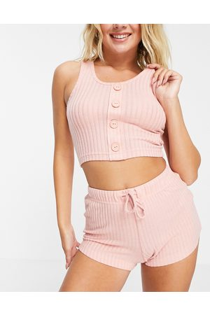 Brave Soul Naomi rib lounge set with vest and shorts in dusty pink