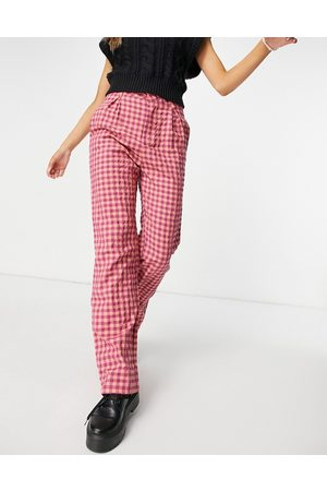 Daisy Street High waist wide leg trousers in vintage check-Red