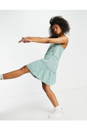 ASOS Strappy sundress with tiered frill detail in sage-Green