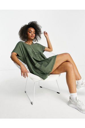 ASOS Button through mini smock dress with pockets in khaki-Green