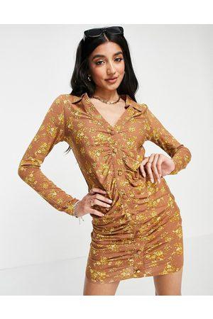 ASOS Mini shirt dress with ruching in mustard floral print-Yellow