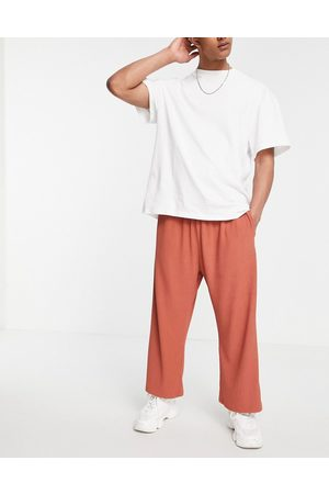 ASOS DESIGN Co-ord oversized fixed hem joggers in rib texture-Pink