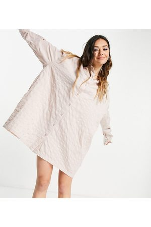 COLLUSION Organic cotton seersucker mini shirt dress in neutral
