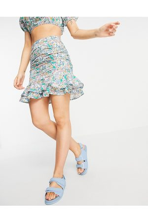 Influence Cotton mini skirt co-ord in floral print-Multi
