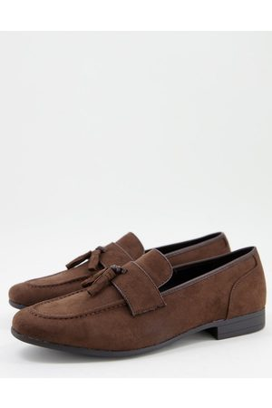 ASOS DESIGN Loafers in brown faux suede with natural sole