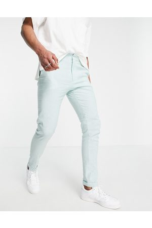 ASOS Muži Chino - Skinny smart trouser in mint and blue stripe