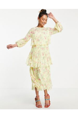 ASOS Pleated tiered midi dress with open back in yellow based ditsy floral print-Multi