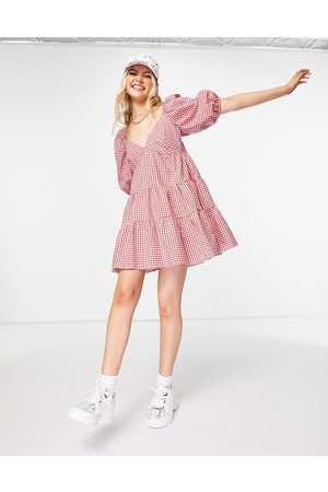 ASOS Tiered babydoll mini smock dress in red and white gingham-Multi