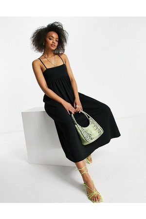 ASOS Ženy Midi - Cami midi dress with square neck in black