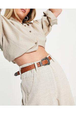Glamorous Ženy Pásky - Western buckle waist and hip jeans belt in tan-Brown