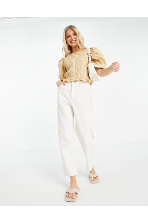Pieces Puff sleeve shirred detail blouse in camel-Brown