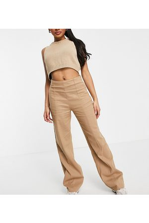 Missguided Ženy Široké nohavice - Co-ord wide leg trouser with seam detail in brown