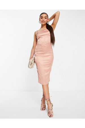 Love & Other Things Ženy Přiléhavé - Drape detail bodycon satin midi dress in pink