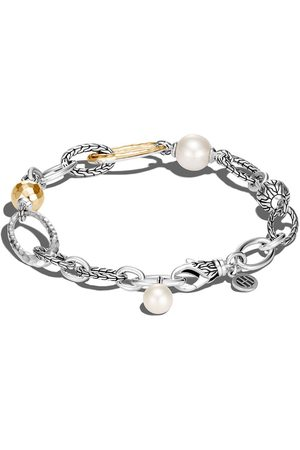 John Hardy 18kt yellow gold and silver Classic Chain pearl bracelet