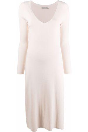 12 STOREEZ Ženy Pletené - Knitted V-neck dress