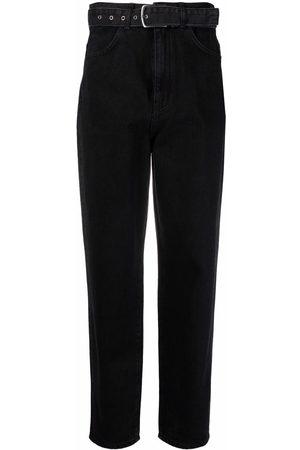 12 STOREEZ Ženy Rovné nohavice - Belted-waist denim jeans
