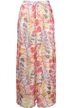Missoni Ženy Široké nohavice - Sheer floral-print trousers