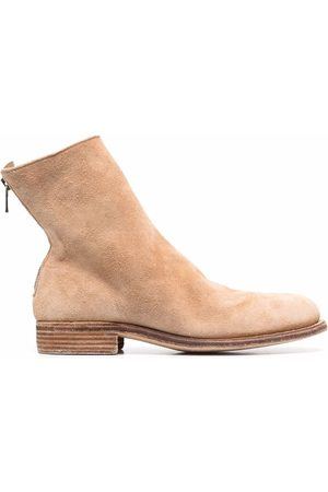 GUIDI Crinkled-effect ankle suede boots