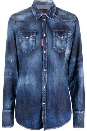Dsquared2 Ženy Džínové košile - Stonewashed distressed-effect denim shirt