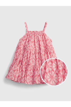 GAP Červené holčičí baby šaty gauze tiered floral dress