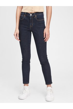 GAP Modré dámské džíny mid rise true skinny jeans with Washwell