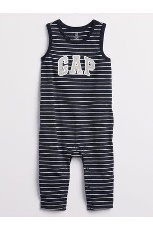 GAP Modrý klučičí baby overal Logo stripe one-piece