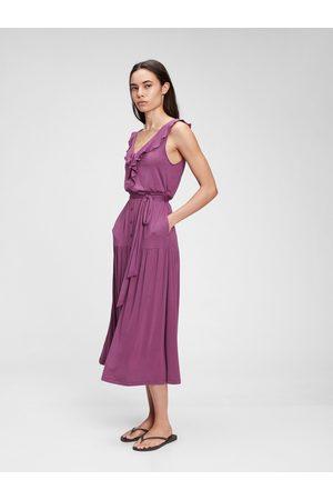 GAP Fialové dámské šaty sleeveless ruffle maxi dress