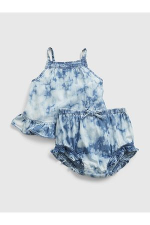 GAP Modrý holčičí baby set tie-dye denim outfit set