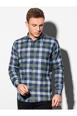 Ombre Clothing Pánská kostkovaná košile s dlouhým rukávem K565