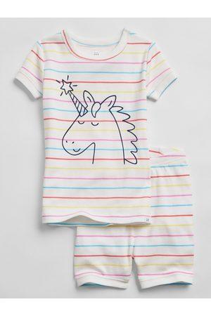 GAP Bílé klučičí dětské pyžamo unicorn stripe 100% organic cotton pj set