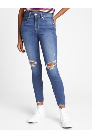 GAP Modré dámské džíny mid rise universal legging jeans with Washwell