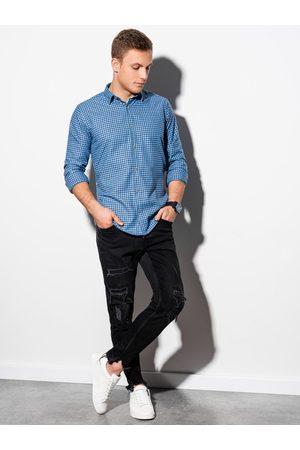 Ombre Clothing Pánská kostkovaná košile s dlouhým rukávem K563 - blankytná