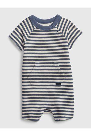 GAP Modrý klučičí baby overal stripe shorty one-piece