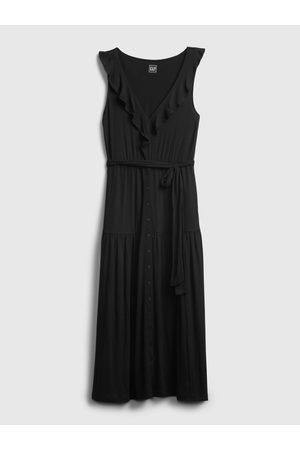 GAP Černé dámské šaty sleeveless ruffle maxi dress