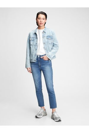 GAP Modré dámské džíny high rise cigarette jeans with secret smoothing pockets with W