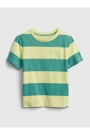 GAP Zelené klučičí dětské tričko 100% organic cotton mix and match stripe t-shirt