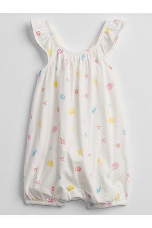 GAP Bílý holčičí baby overal shell print bubble one-piece shorty