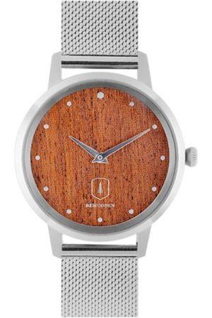 BeWooden Dřevěné hodinky Diamond Red Watch s řemínkem z pravé kůže