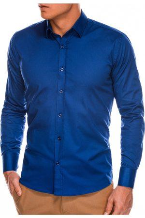 Ombre Clothing Pánská slim-fit košile s dlouhým rukávem K504 - námořnická