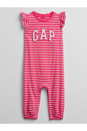GAP Růžový holčičí baby overal Logo stripe one-piece