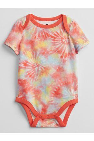 GAP Oranžové klučičí baby body mix and match tie-dye bodysuit