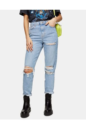 Topshop Mom jean with super rips in bleach wash-Blue