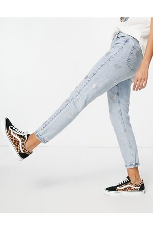 Topshop Mom jean with diamante hearts in bleach-Blue