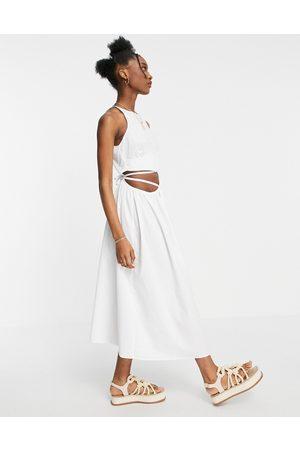 ASOS Ženy Midi - Cotton poplin tie wrap around midi sundress in white